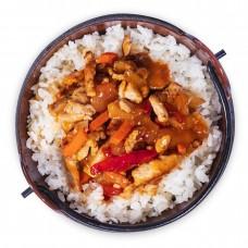 Свинина в кисло-сладком соусе с рисом